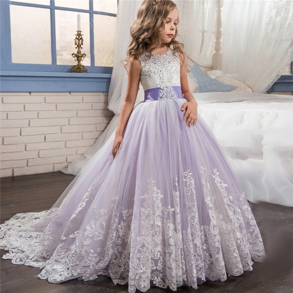 1505f861560 Teen Girls 5-14 Years Elegant Purple Embroidery Wedding Tulle Party ...
