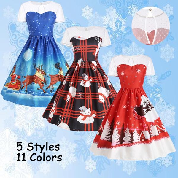 67a59c6344ba Christmas Dresses Xmas Dresses Printed Santa Claus Snowflake Printed ...