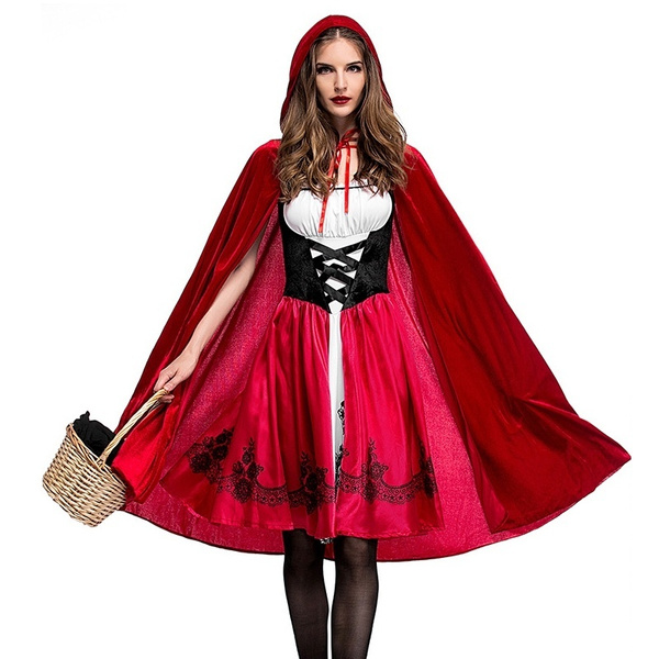 Women Girl Little Red Riding Hood Halloween Cosplay Costume Adult Child Suit FQ