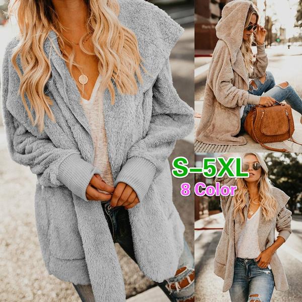 Womens Autumn Outwear Long Sleeve Hooded Hoodies Slim Fit Coat Jacket Sweaters