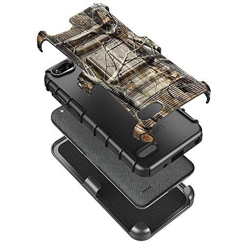 NageBee [Heavy Duty] Shock Proof [Belt Clip] Holster[Kickstand Combo Case  w/ [Tempered Glass Screen Protector] for ZTE AVID (557), ZFive G/ZFive C