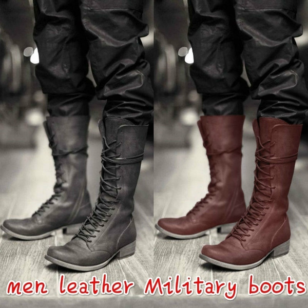 Mens Lace Up Combat Boots Black Leather Boots Knee High Pirate Boots Man  Military Vintage Biker Boots Cross Strap Flat Plus Size Shoes
