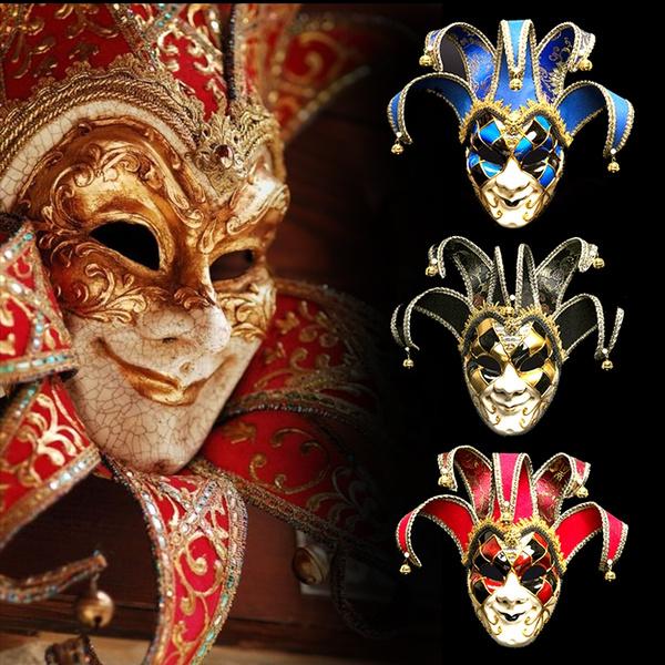 202127edf7ec Venice Masks Full Face Jester Mask Halloween Masquerade Holiday ...