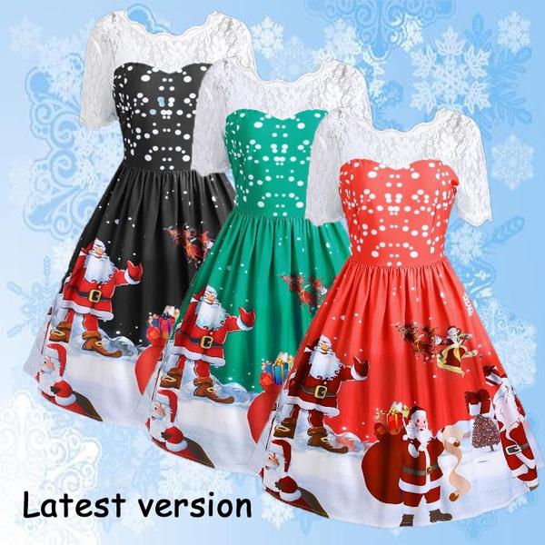 7653a72522b9 Christmas Dress Santa Claus Printed Tunic Dress Short Sleeve Lace Up Dresses  Christmas Festival Knee Length Elegant Dress Christmas Dresses for Women ...