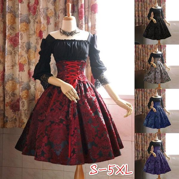 Plus Size 5XL Women Girls New Festival Novelty Dress Blouse Apron Black  Front Strap Back Bow Lolita Dresses Medieval Gothic Long Sleeve Dress