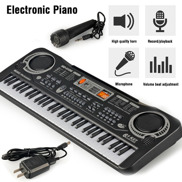 Unique Musical Teaching 61 Keys Keyboard Electronic Digital Music Piano  Beginner Early Education Puzzle Musical Toy With Microphone And AC Adapter  For