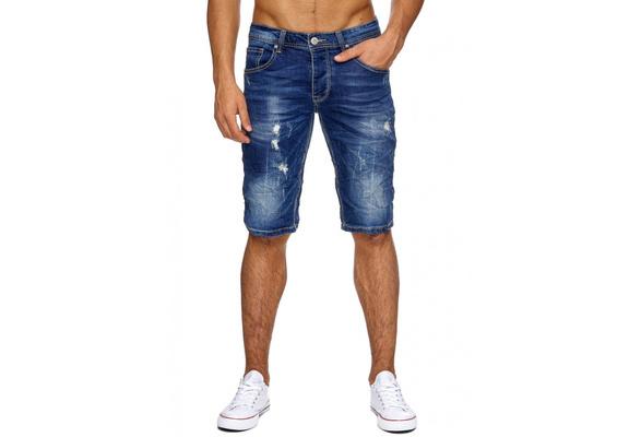 Herren Jeans Shorts Zerrissen Bleached Bermuda | real