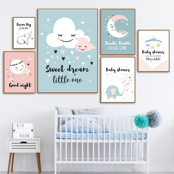 Lovely Cartoons Cartoons Cloud Moon Elephant Baby Dream Quotes Frameless Wall Art Canvas Painting Nordic Posters And Prints Wall Pictures Kids Room