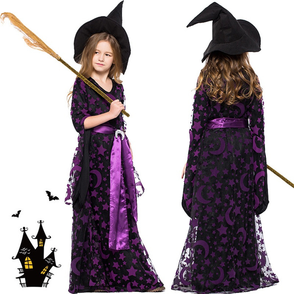 Jamickiki Halloween Party Fancy Dress For Children New Fashion Cosplay Costumes Girls Long Dresses Witch Costume Wish
