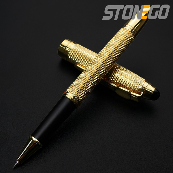 Stainless Steel Office Business Signature Ballpoint Rollerball Black Ink Pen