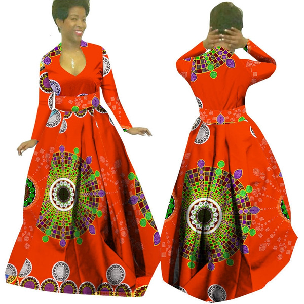 African Wax Print Maxi Dresses Dashiki Plus Size Traditional African  Clothes for Women Full Sleeve Long Party Dress WY029