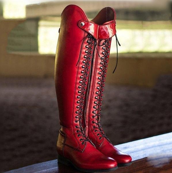 Botte Up Plus High Stivali Horse Lace Flat Botas Cross Long Femme Women Dame Size Strap Vintage Knee Riding Stiefel Leather Boots PkXuZiO