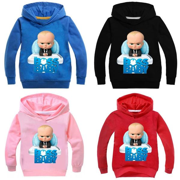 Cute Boss Baby Cartoon Hoodie Tops Cotton Costume Sweatshirts For Children Boys Girls Baby Toddler Clothings