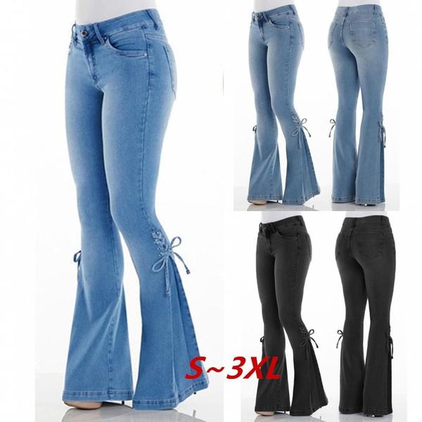 361f6f15e Vintage Low Waist Elastic Flare Jeans Women Retro Style Bell Bottom ...