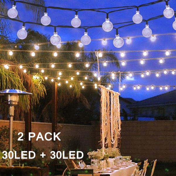 2pack Solar Globe String Lights 30 Led 19 8ft Outdoor Crystal Ball Christmas Decoration Light Waterproof Patio Decorative For Xmas Tree