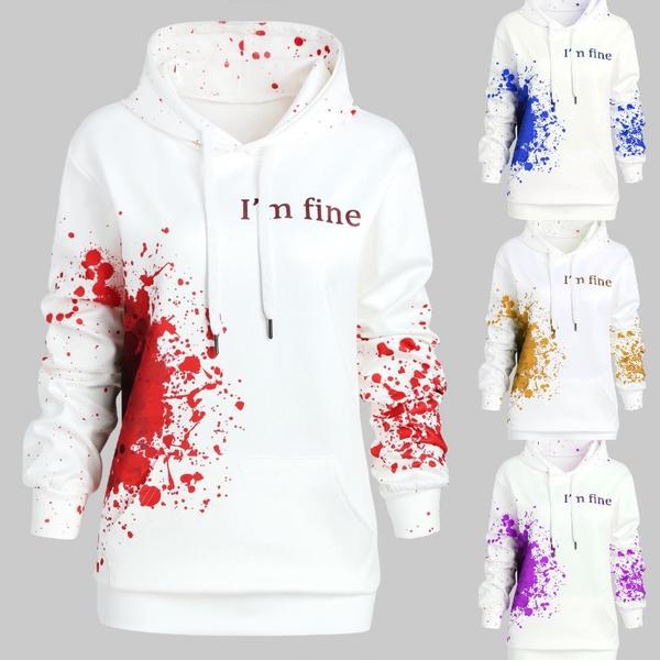 get online get cheap nice cheap Halloween Blood Hoodies Sweatshirts Women I'M FINE Letter Print ...