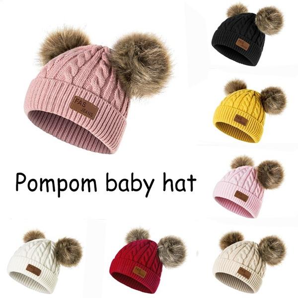Compre Sombrero Del Bebé Niños Niñas Pompones Sombrero Niños ...