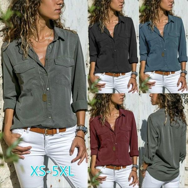Turn-down Collar, women shirt Blouse, Fashion, long sleeve blouse
