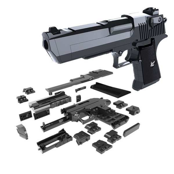 DIY Building Blocks Toy Gun Desert Eagle Assembly Brain Game Can Fire Mung Bean