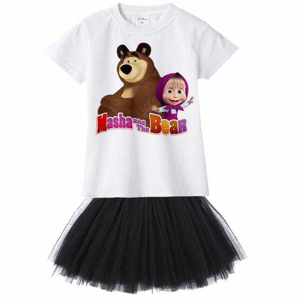 5cf771d4a9b314 Fashion Suits Masha And The Bear Girl Dresses Kids Cartoon Outfit ...