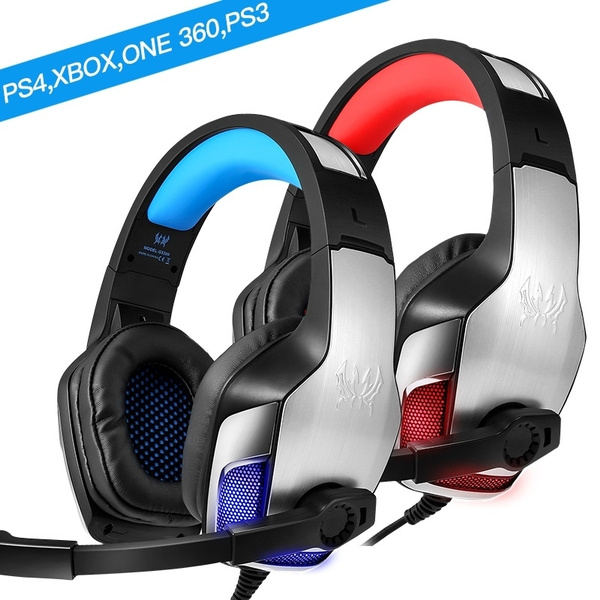Gaming Headset Xbox One, PS4, PC, Controller, Noise Cancelling Over Ear  Headphones Mic, LED Light Bass Surround Soft Memory Earmuffs Computer  Laptop
