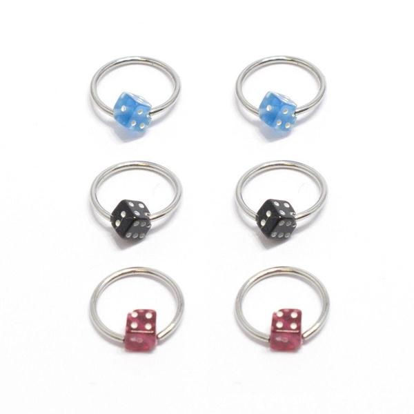 Lot Of 6 Nipple Ring Septum Captive Bead Ring Acrylic Dice 18g 3 8