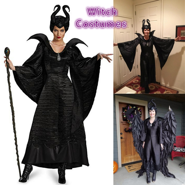 New Deign Women Halloween Costumes Dark Queen Maleficent Costumes Witch Costumes