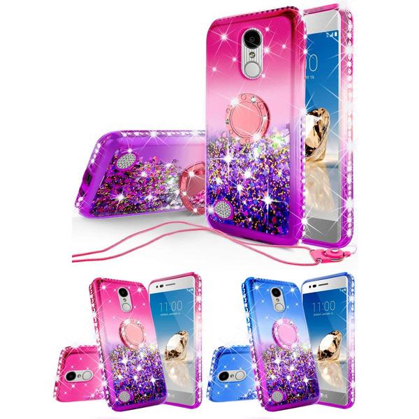 SOGA Rhinestone Liquid Quicksand Cover Cute Girl Phone Case Compatible for  LG LV3/Aristo/K8 (2017)/LG Rebel 3/Rebel 2/Fortune/Risio 2 Case,with