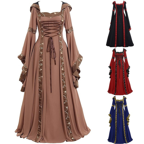 New Women Vintage Gothic Medieval Dress Gothic Maxi Dress Halloween Cosplay  Dress Retro Long Gown Dress Plus Size