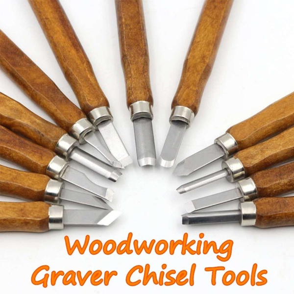 12pc Wood Carving Hand Chisel Tool Set Professional Woodworking Gouges Steel