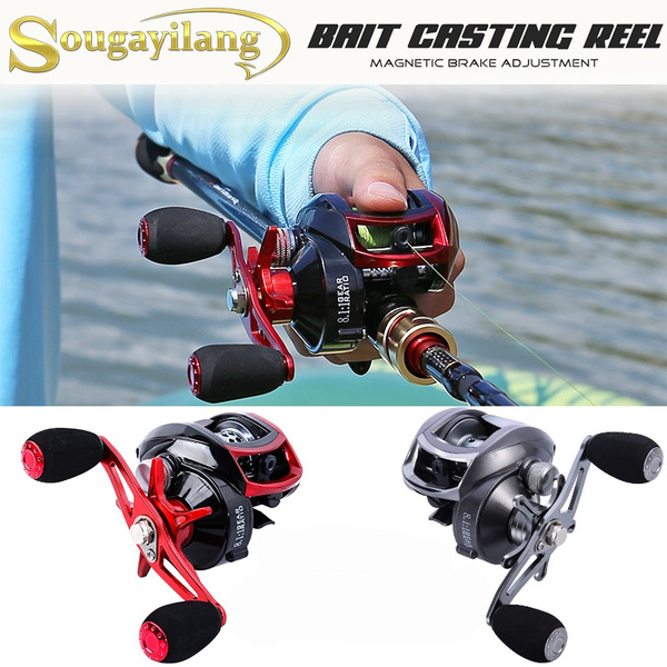 Sougayilang Baitcasting Fishing Reels 12+1 Ball Bearings Baitcasting  Fishing Reel for Bass Trout Outdoor Sea Fishing Tackle