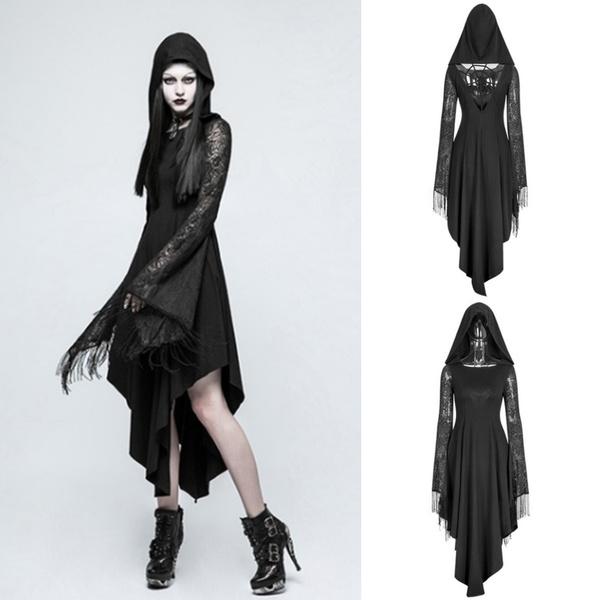 S-5XL Women New Fashion Halloween Costume Punk Rave Gothic Dress with  Cobweb Lace Sleeve Hooded Dress Fancy Irregular Black Dress Boho Cosplay  Witch ...