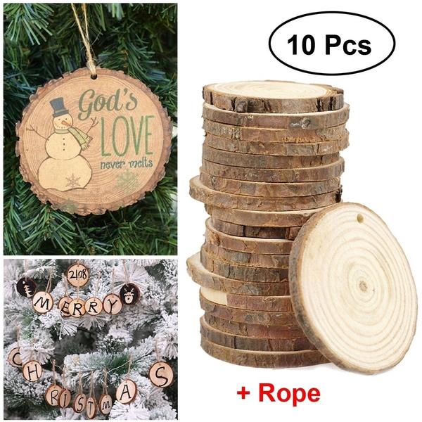 New 10pcs Christmas Xmas Tree Wood Log Slices Discs Cutout Circle Round Large Wood Disks Crafts Paint Decor Wooden For Wedding Diy Decoration