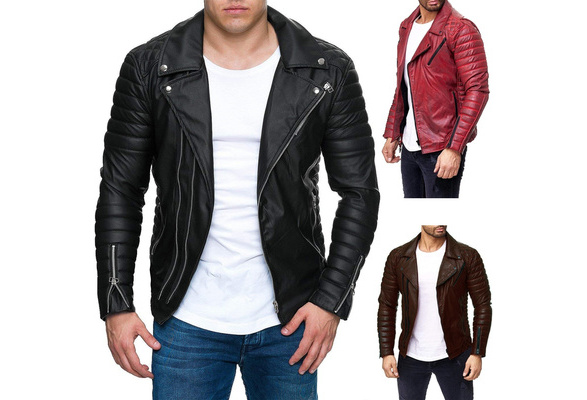 df3d1b045 NewCool Men 's PU Leather Jacket Personality Motorcycle Jacket Large Size  Fashion Men' S Clothing