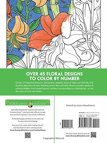 Geek Creative Haven Floral Design Color By Number Coloring Book
