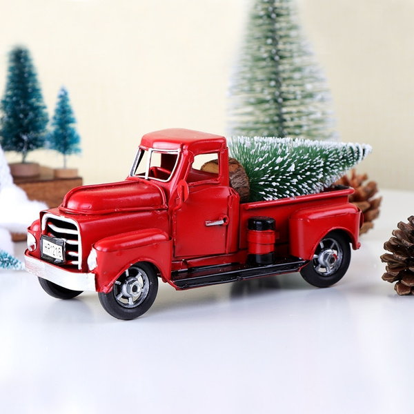 Contemporary Manufacture Vintage Red Metal Truck With Movable Wheel Kids Gift Christmas Car Table Decor Abidjanpress Com