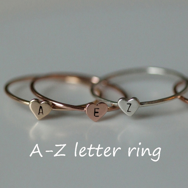 initialring, Jewelry, Silver Ring, Simple