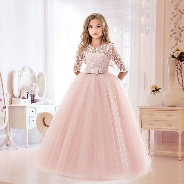 Wedding Evening Gowns Tulle Sleeve  Formal Dress for Birthday Princess Dress