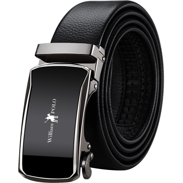 Mens Genuine Leather Ratchet Dress Belt with Automatic Buckle Trim to Fit