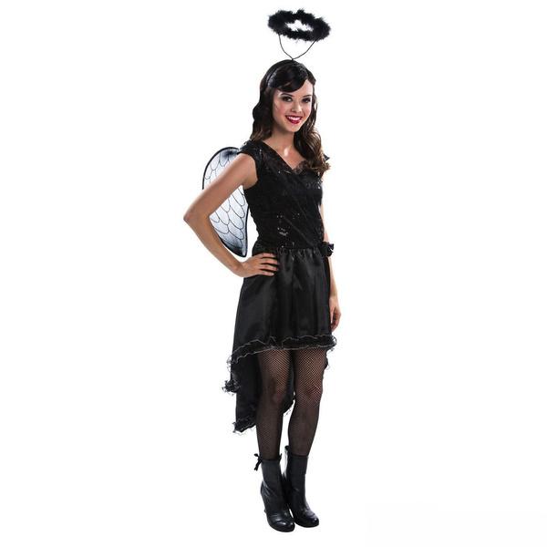 Home | Girls TEEN Black Fallen Angel Halloween Fancy Dress Costume Tween  Scary Fairy