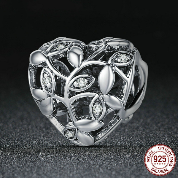 NEW Fashion Heart European CZ Charm Crystal Spacer Beads Fit Necklace Bracelet
