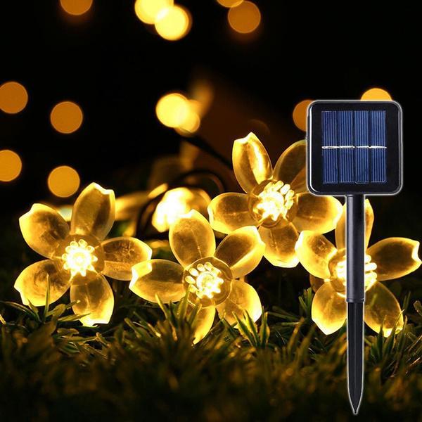 50 Solar Led Lights Peach Sakura Flower Decor Christmas Solar Lamp