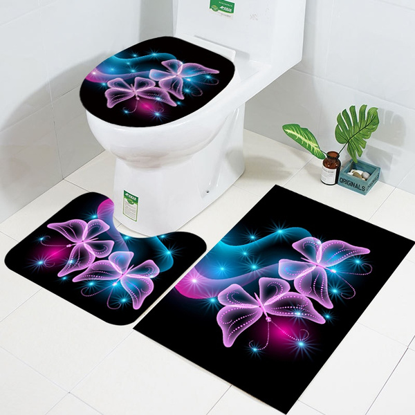Cool 3 Piece Bath Rug Set Butterfly Pattern Bathroom Shower Mats Contour Mat With Lid Cover Color Black Dark Blue Purple Lake Blue Machost Co Dining Chair Design Ideas Machostcouk