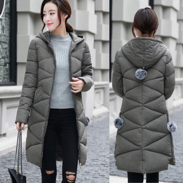 Winter Fashion Korean Style Women Cute Fur Ball Decoration Hooded Thicken Down Parka Jacket Wish