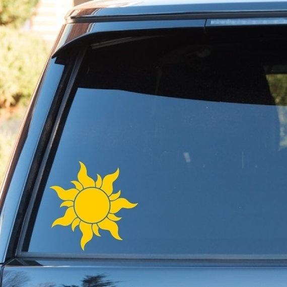 High Quality Tangled Rapunzel Sun Vinyl Decal Sticker Disney Princess Disneyland Car Decal Laptop Decal Corona Sun Set Of 2 Wish