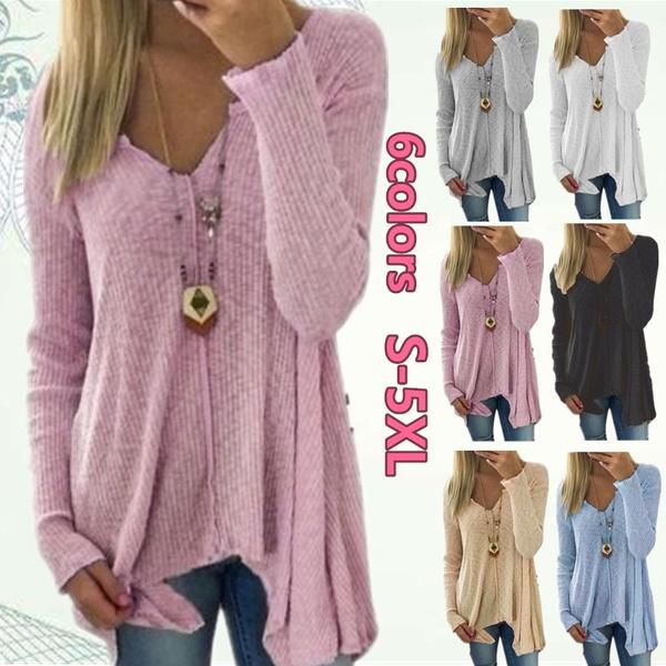 Deep V-Neck, Cotton, Plus Size, long sleeve blouse