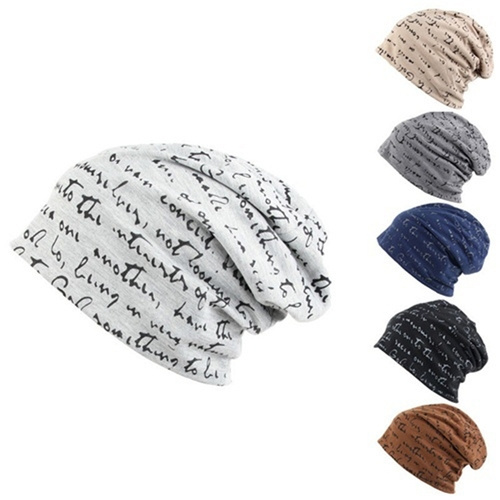Winter Beanie Hat Unisex Fashion Letter Printed Beanie Cap Cotton Blend Knitted Hiphop Hats