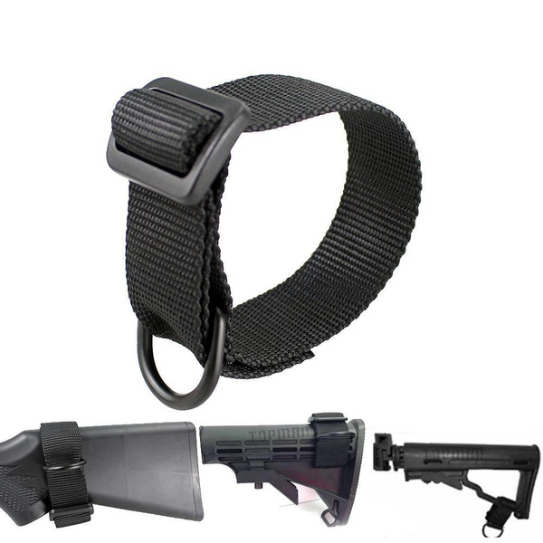 Tactical Heavy Duty ButtStock Sling Adapter with D Ring for Rifle Shotgun Black