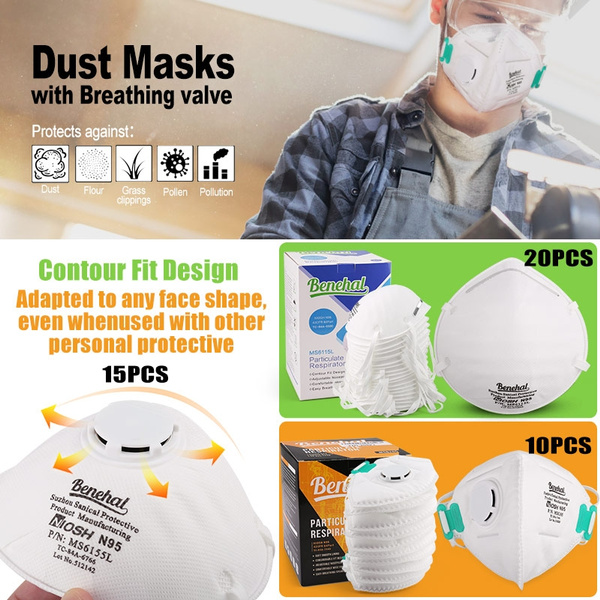 Pollution Disposable Masks Particulate 10 N95 Dust Valve Respirator With Against Breathing Filter Mask 15 Particle 20pcs Pollen Lotfancy Air
