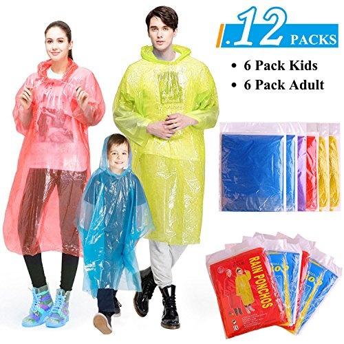 GINMIC Rain Ponchos Family Pack Emergency Waterproof Ponchos for Kids and Rain